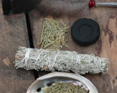 Smudge Kit / Ceremony, Meditation, Cleansing, Positive Energy / Sage, Feather, Cedar, Sweetgrass, Charcoal, Abalone Shell / Beginner's Kit