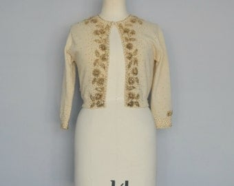 1950s Beaded Cream Coloured Cardigan 50s Cropped Sweater