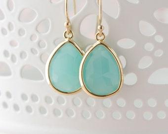 Mint and Mint and Gold Dangle Earrings- Green Earrings, Mint Earrings, Dangle Earrings, Wedding Mint, Beach Earrings, Tee Shirt Earrings