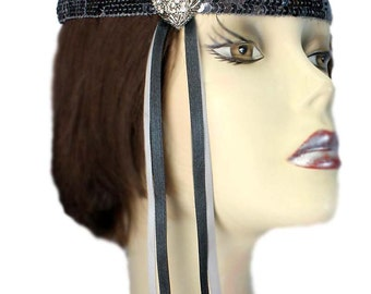 Black Flapper Headband Love Jewel Silver Gatsby Roaring 20's Feathered Fascinator Showgirl