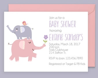 Elephant Shower Invitation - Elephant Baby Shower Invitation - Shower With Love - Modern Shower Invitation