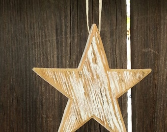 "5"" Rustic wood star Ornament/gift decoration  WHITE #539"