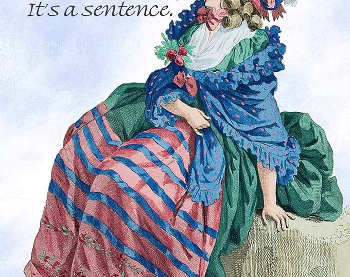 "Marriage is not a word. It's a sentence. ~ Marie Antoinette Inspired Funny 4"" x 6"" Postcards  Free Shipping in USA"