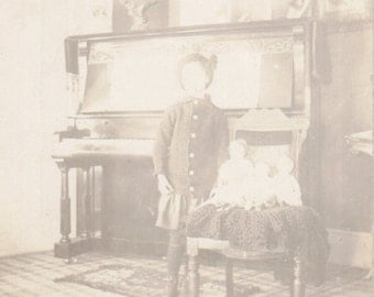 Faceless Ghosts- 1910s Antique Photograph- Edwardian Girl- Haunted Dolls- Ghostly No Face- Interior- Real Photo Postcard RPPC Paper Ephemera
