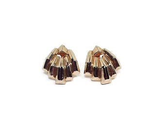 Vintage Screw Back Earrings Gold Tone Retro Womens 1980s 80s Modernist Design Metal Jewelry