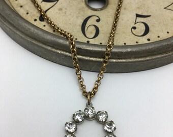 Rhinestone Necklace vintage rhinestone earring necklace repurposed necklace ooak