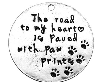 """Antique Silver Stamped """"The Road to my Heart is Paved with Paw Prints"""" Charm / Pet Memorial (1 piece) - Lead, Nickel, Cadmium Free 86113.B16"""