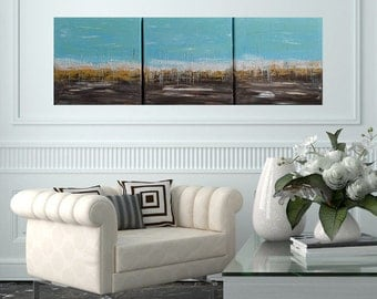 READY TO SHIP: 12x36 Abstract Nautical Ocean Beach Sea Waves by MyImaginationIsYours