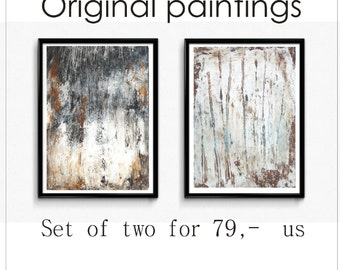 black and white  Painting  set two Acrylic Painting large abstract painting   from Jolina Anthony