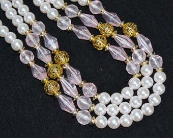 Vintage Double Strand Necklace with Faux Pearls and Light Pink Lucite Beads
