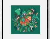 Jungle Sloth Print | Giclee Print | Nursery Art | Kids room | Wall Decor | Wall Art | Jungle Animal | Gift | Wildlife | Whimsical | Cute