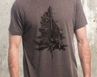 Tree & Industrial Landscape T-Shirt - Screen Printed T-Shirt