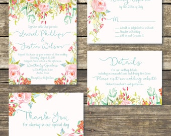 Printed Wedding Invitation - Pink / Blush Summer / Spring Floral Watercolor Wedding - Rustic Wedding - FREE Hard Copy Proof
