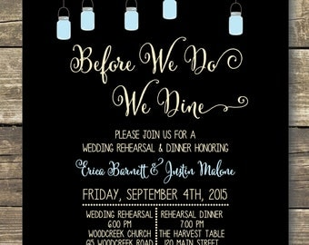 Printable Rehearsal Dinner Invitation - Digital File - Rustic Wedding Mason Jars and Sparkly Lights -  Wording can be changed