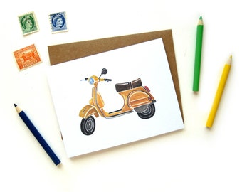 Yellow Vespa Scooter Greeting Card   Handpainted Scooter Small Greeting Card Kraft Envelope