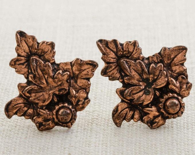 Vintage Copper Toned Earrings Clip On Leaf Clipons | Vtg 7B