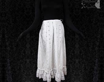 Skirt broderie anglais, white romantic skirt, cottage chic, victorian, Somnia Romantica, size XS-S  see item details for measurements