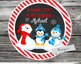 Christmas Tags, Christmas Stickers, Polar Bear Christmas Tags, Penguin Birthday Tags, Snowman Favor Tags, Christmas Gift Tags. Penguin