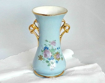 Vintage Shabby Chic Vase, Pastel Blue Vase, Abingdon Pottery Vase #534, 1940s Vase, Hand Painted Floral Vase, Gold Trim.