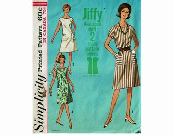 Jiffy A Shaped Shift Dress Uncut Sewing Pattern 1960s Simple to Sew Size Medium 14-16 Bust 34-36