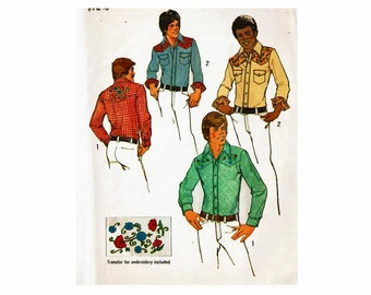 Teen Boys Western Shirt Sizes 14 & 16 Chest 32 1/2 33 1/2 Uncut Sewing Pattern 1970s Simplicity 6693