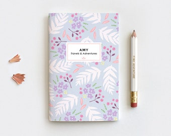 Floral Personalized Journal & Pencil Set, Midori Insert - Hand Drawn Illustrated Leaves Purple Floral Notebook, 3 Sizes Blank Lined Dot Grid