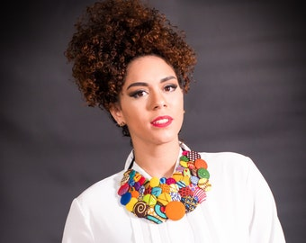 Ankara African Button Necklaces, Ankara Necklace, African Clothings, African Button Necklaces, Button Necklace, African Multistrand Necklace