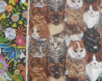 Cat Variety Fabric 3 yds ~ 11 pieces or pre cut Jelly Roll FREE SHIPPING