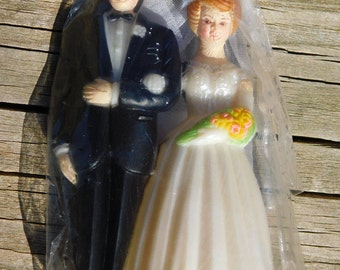 1960's Vintage Old Store Stock Bride and Groom Wedding Cake Topper