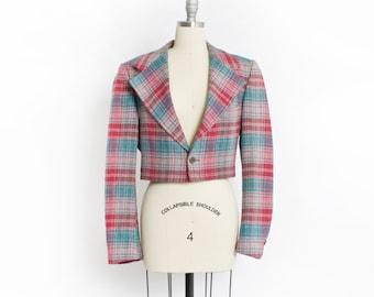 Vintage Pierre Cardin Jacket - 80s Plaid Wool Cropped Pink & Blue Blazer - Small