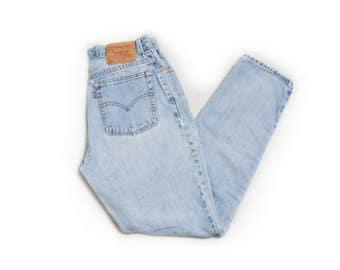 "Vintage Levi's 550 JEANS - Denim Slim Fit Tapered Leg High Waist Mom Jeans Orange Tab - 29""x30"" Medium"