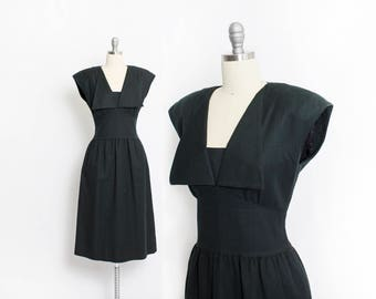 Vintage Adele Simpson Dress - 1980s Black Cotton Sailor Collar fitted Dress 80s - Large