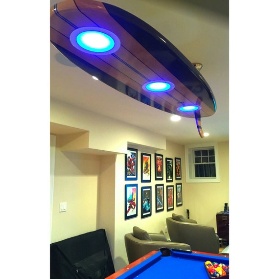 surfboard pool table billiard game room bar ceiling light gameroom lighting