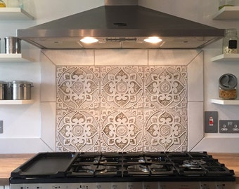 6 Ceramic tiles for kitchens or bathrooms, choose from 12 designs, Decorative tiles, hand painted tile, 30cm, beige