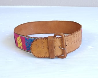 vintage 80s colorful EMBROIDERED ethnic TOOLED LEATHER Belt med/large boho Mexican bright pink hippie wide festival folk