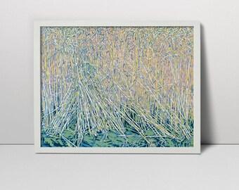 Wheatfield landscape serigraph - filed screen print - wheat filed - wheat filed landscape - landscape - wheat filed art - summer landscape