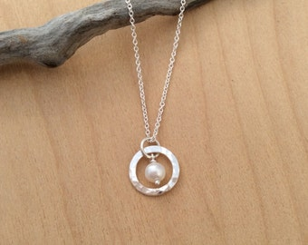 Dainty Pearl Necklace, Argentium Silver Circle Pendant