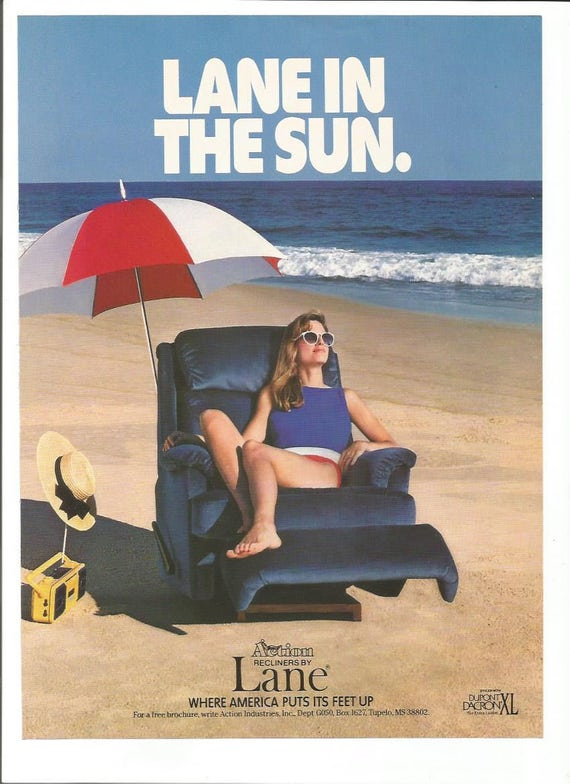 Lane Advertisement Recliner Laying In The Sun Beach