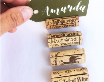 Recycled Wine Cork Place Card Holder. Place Cards Wedding. Name Cards Wedding. Wine Themed Bridal Shower. Table Number Cards. Winery Wedding