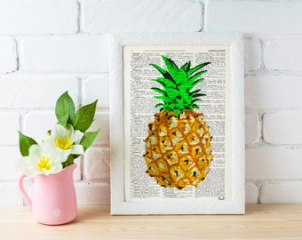 Summer Sale Pineapple Wall decor, giclee print art Hipster pineapple - Book print  artwork Printed on page BFL096b