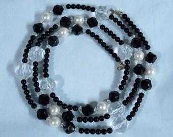 Vintage Avon Fabulous Facets Necklace, 1990 - Black White Clear Beads