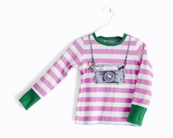 Baby tee instamatic camera striped t-shirt. Size from 6 months. Made in Italy. Ready to ship.