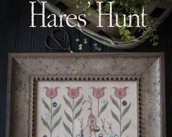 20% OFF SALE Hares' Hunt cross stitch pattern by Plum Street Samplers at thecottageneedle.com Spring Easter Mother's Day tulips