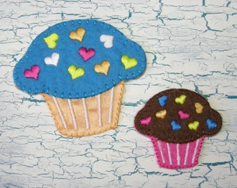 """Two Cupcakes Patches Appliques Iron On 2"""" and 1 1/4"""" Cupcakes"""