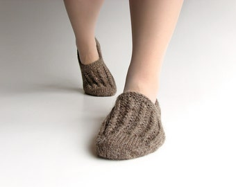 EU Size 39-40 -  Hand Knitted Woolen Slippers - Winter Organic Eco Clothing