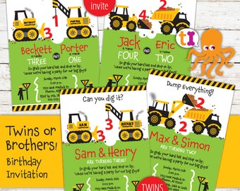 Construction, Truck, Birthday, Party, Invitations, for twins, brothers, or siblings