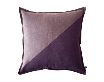 Color block pillow cover, Violet and light purple linen pillow cover, 20 x 20 pillow cover , 50 x 50 cm, Violet accent pillow, Violet pillow