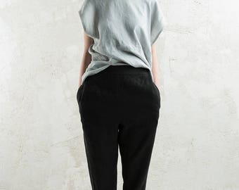 Black linen trousers for women, Black linen women's pants, Linen women's clothing by LHI