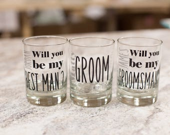 Gift for Groomsmen rocks glasses, scotch, old fashioned glasses personalized with groomsman name, best man gift. Will you be my groomsman?