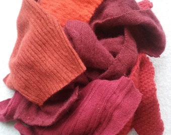 Cashmere Recycled Remnants Cable Knit - Bright Red to Reddish Orange - for DIY Crafts and Projects - Choose Bundle Size